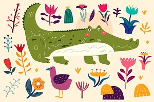 Crocodile and flowers