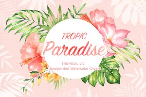 Tropic Paradise Watercolor Clipart