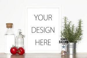 Kitchen print mockup - white frame