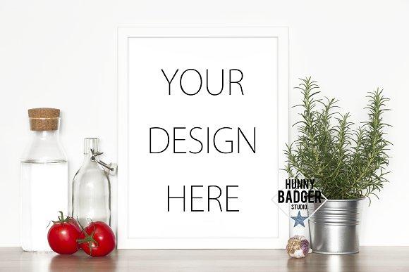 Kitchen Print Mockup White Frame