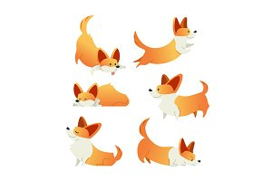 Dog - modern vector set of flat illustrations.