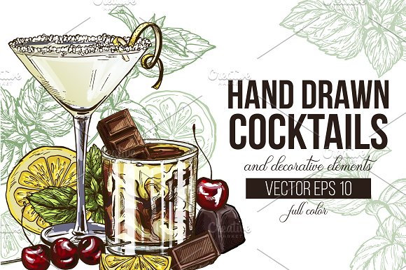 13 Cocktails Hand Drawn Collection