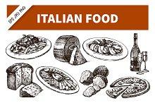 Hand Drawn Sketch Italian Food