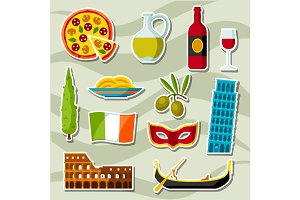 Italy icons set. Italian sticker symbols and objects