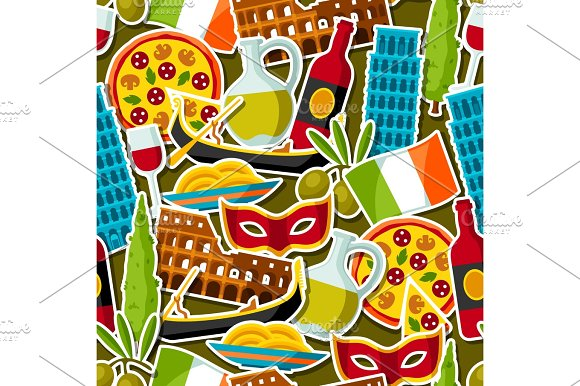 Italy Seamless Pattern Italian Sticker Symbols And Objects