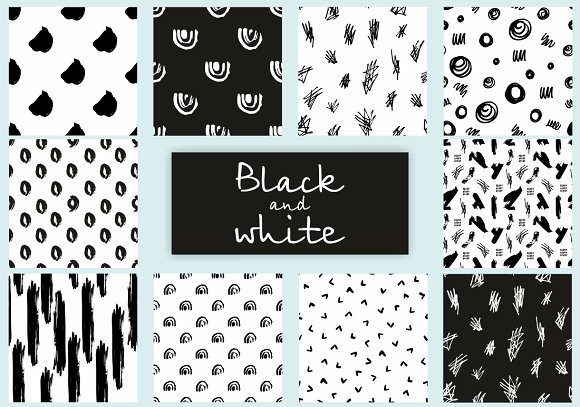 Sale 50 Black And White Patterns Graphic Patterns Creative Market
