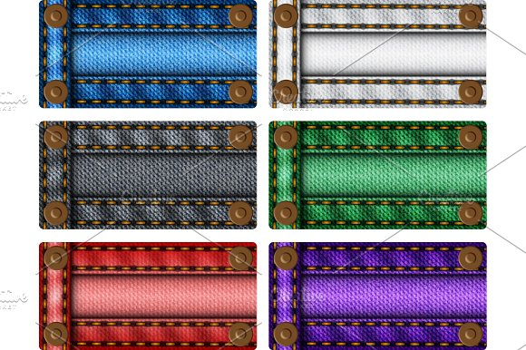 Set Of Colorful Jeans Labels