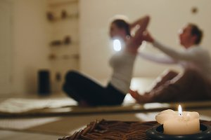 Thai medical massage - traditional therapy for spine - impact on most joints and organs, b&#x3B;urred