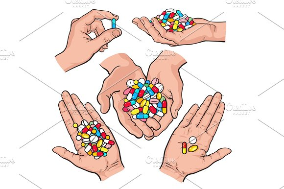 Hand Drawn Hands Holding Piles Of Colorful Pills Capsules Tablets