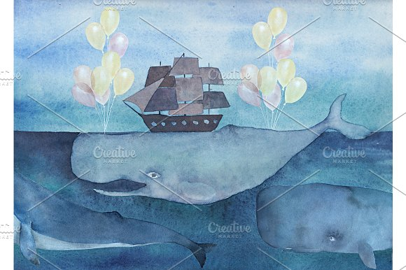 Watercolor Whale With Ship