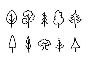 Cute hand-drawn trees and plants