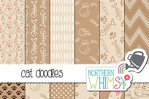 Cat Seamless Patterns - Beige & Tan