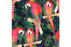 Watercolor Pattern With Parrots