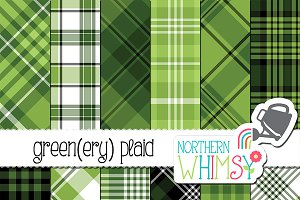 "Green Plaid Patterns - ""Greenery"""