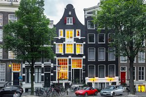 Night Amsterdam houses, Holland, Netherlands