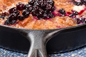 Blueberry croissant breakfast in skillet