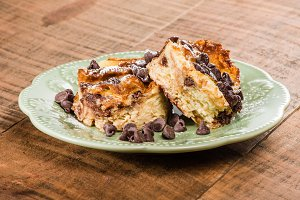 Chocolate chip bread pudding dessert