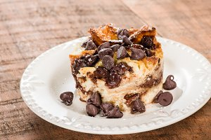 Chocolate chip bread pudding on plate