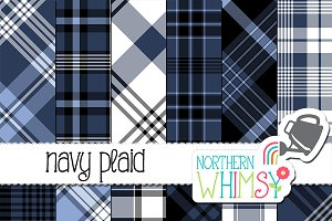 Navy Blue Plaid Patterns