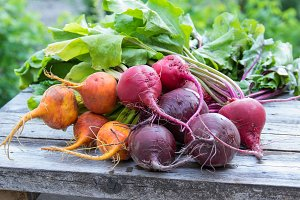 Bunches of red and orange beets