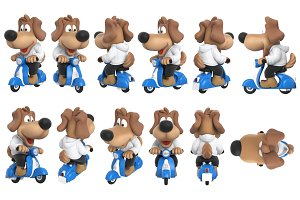 Cartoon dog cute character set