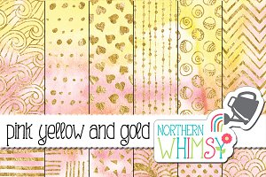 Pink Yellow & Gold Watercolors