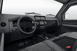 Car interior dashboard steering