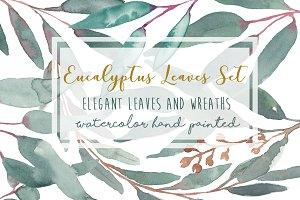 Elegant Watercolor Eucalyptus Leaves