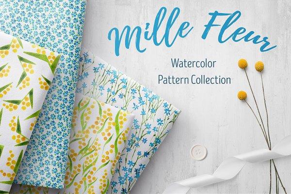 Mille Fleur - 36 watercolor pattern…
