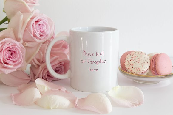 Download Roses and Macaroons White mug mockup