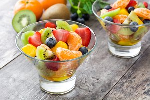Fruit salad in crystal bowl