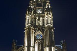 cathedral facade at night