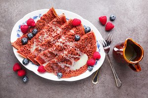 Morning red velvet Pancakes