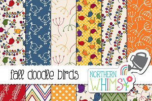 Fall Doodle Bird Patterns