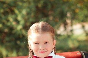 Pupil girl outdoors