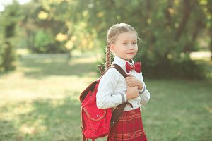 Pre schooler girl outdoors