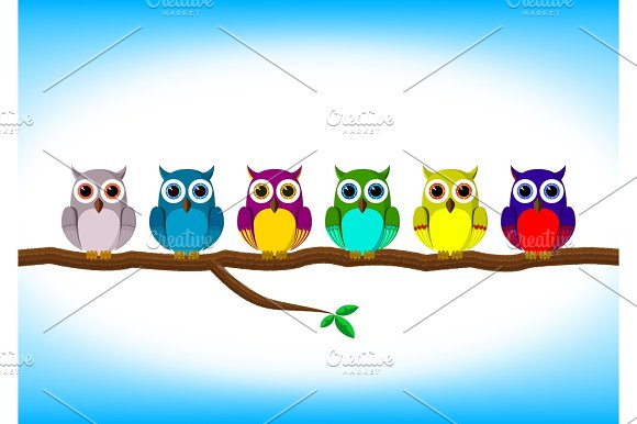 Funny Colorful Owls In A Row