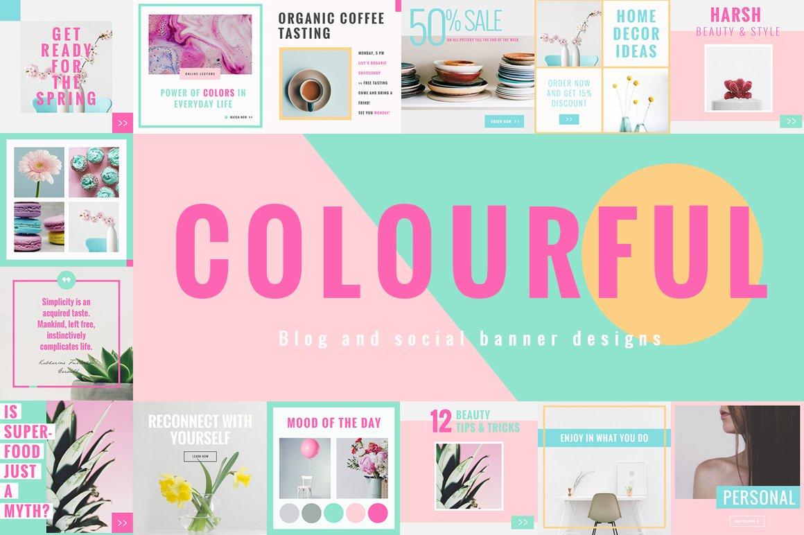 Colorful Social Media Designs ~ Instagram Templates ~ Creative Market