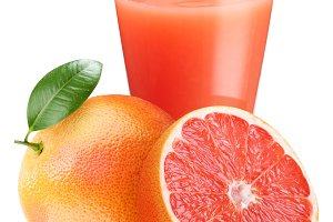 Grapefruit juice with ripe grapefruit on a white background.