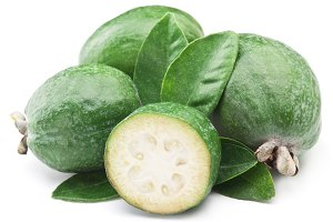 Feijoa with leaves on a white