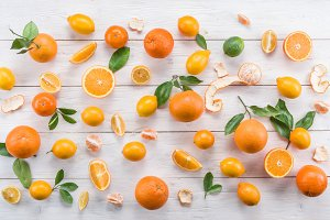 Ripe lemons and oranges