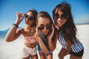 Women friends in sunglasses