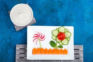 Funny vegetable salad for kids