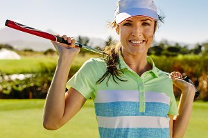 Beautiful female golfer