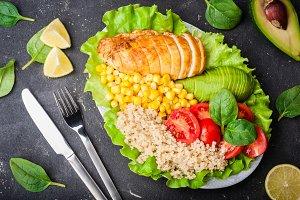 Healthy dinner. Balanced food