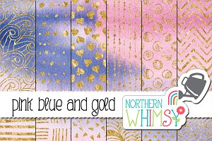 Pink Blue and Gold Watercolors