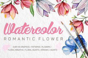 Watercolor romantic flower