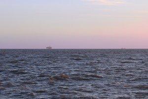Boat sailing at river plate