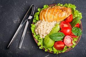 Balanced food. Healthy salad