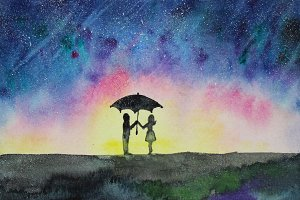 Star rain and couple, watercolor